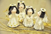 cute angels clay figurine for Christmas tree decoration