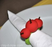 cherry napkin ring, how to make napkin ring, cherry, clay napkin ring