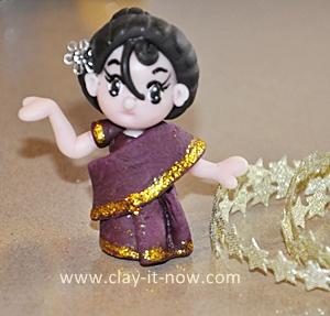 Indian Woman Mini Figurine in Saree
