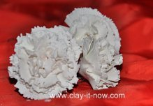 white carnations clay flower