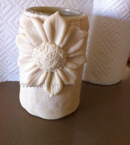 sunflowerclay, sunfloweronrecycledjambottle, handcraftedsunflower, sunflowerforkids
