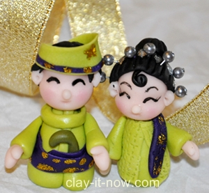 Malay wedding, Bride & groom mini figurine in Traditional Malay outfit