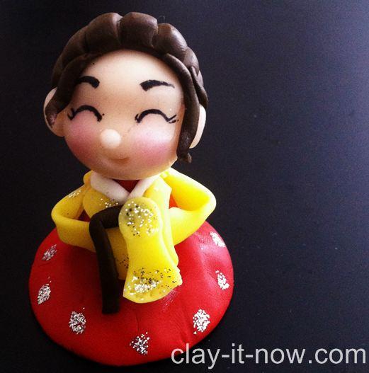 cute mini figurines - girl wearing hanbok - korean traditional dress
