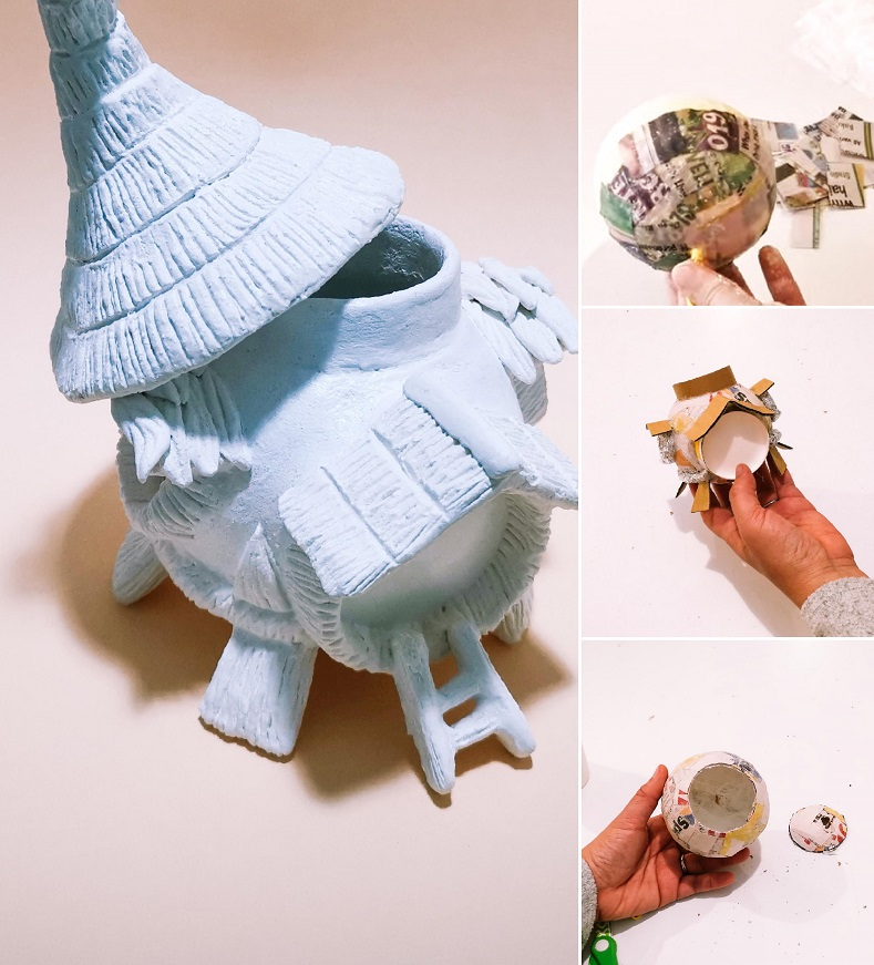 summer fairy house ideas using balloon - tutorial by clayitnow