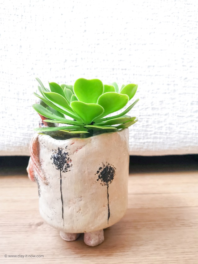 donkey planter jar and air dry clay - copycat pottery