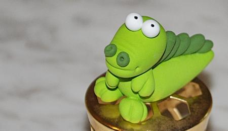 baby crocodile, crocodile clay figurine