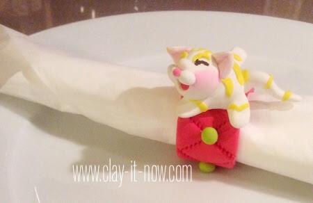 kitty napkin ring - air dry clay- soft clay
