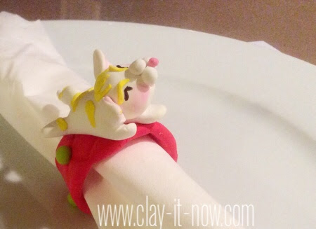 kittynapkinring-airdryclay-cute kitten clay