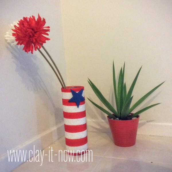 fourth of july craft for kids, upcycling potato chips can to flower vase - completed craft project