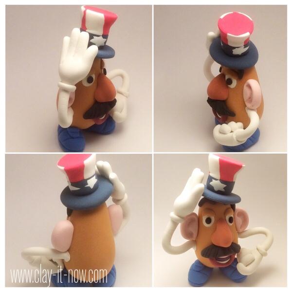 7706-patriotic potato head - mr.potato head clay figurine wearing 4th of July hat