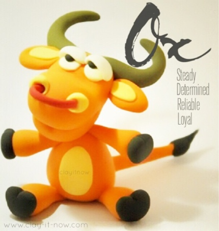 OX figurine - 12 animals in Chinese Zodiac, ox clay