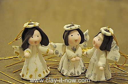 Cute Angel Figurine, Angels for Christmas tree decoration, Christmas cake decoration, angel clay, angel fondant