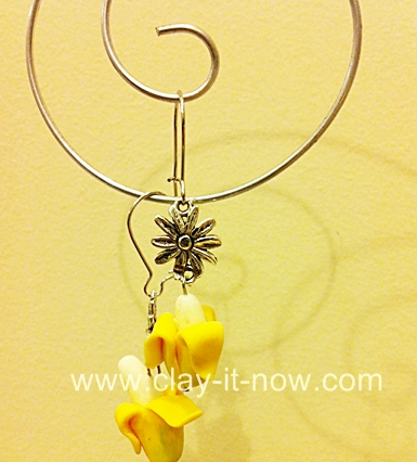 banana clay jewelry charm, banana clay beads
