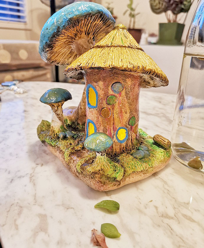 blue mushroom fairy house jar idea