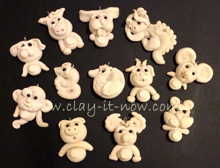 Chinese zodiac, 12 animal signs, salt dough craft