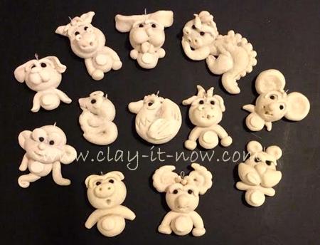 Chinese zodiac 12 animal signs salt dough craft for Salt dough crafts figures