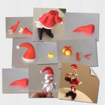 santa hat and face - step-by-step guide to make santa claus figurine for christmas in air dry clay