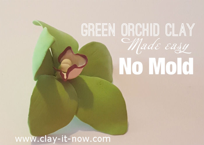 clay green orchid flower - orchid clay - without mold