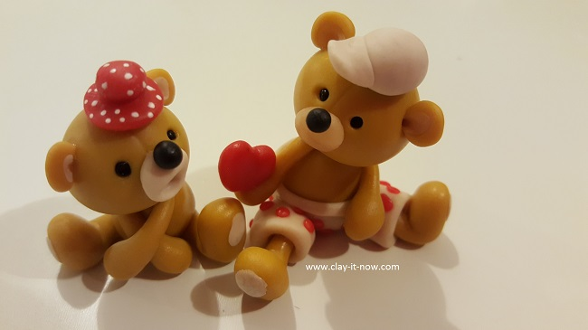cute bear figurine, bear with love, best homemade clay, kids project
