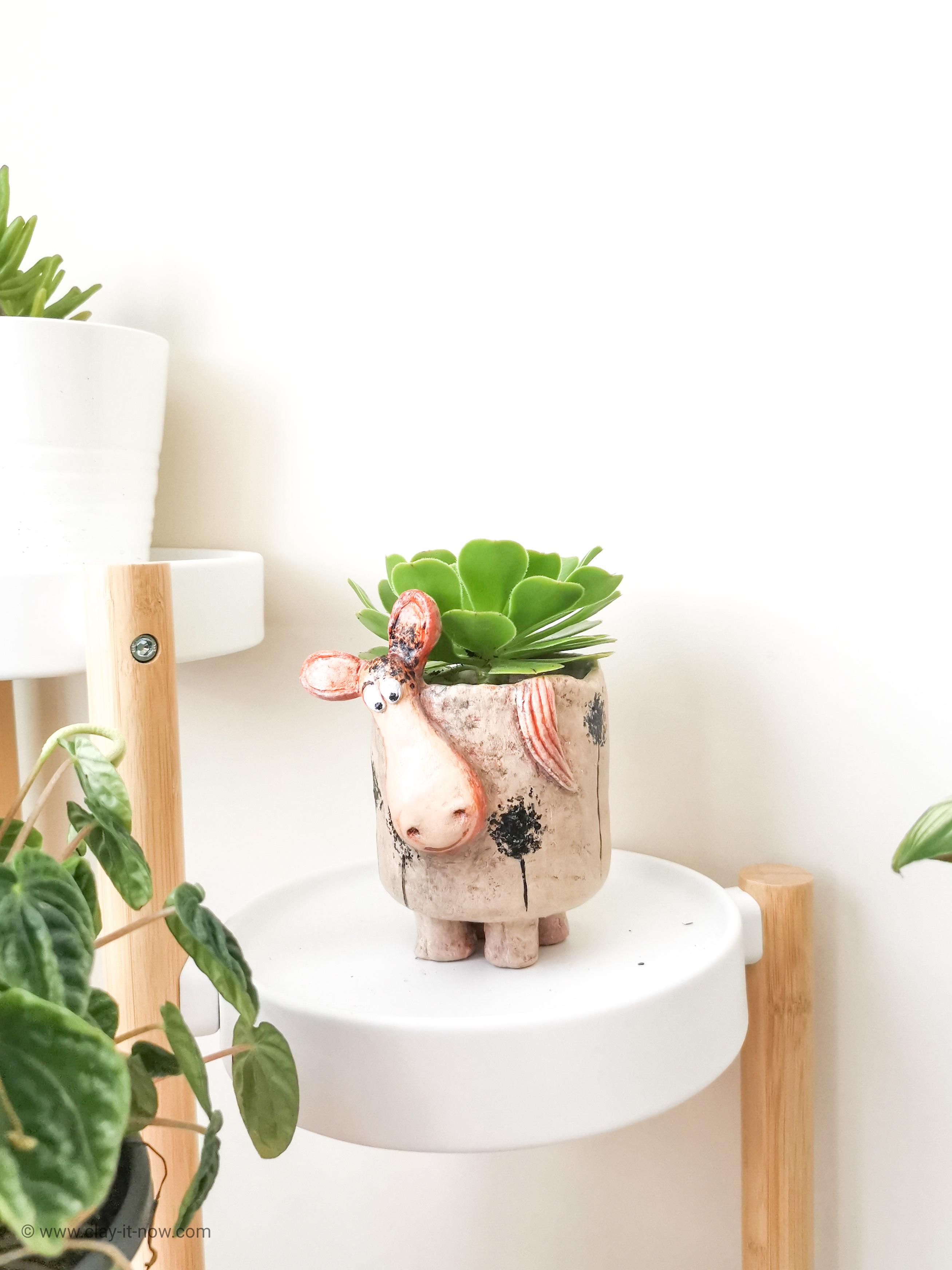 donkey planter - copycat pottery - clayitnow-1
