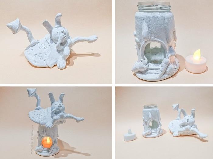 Easter Theme Fairy House DIY Idea - air dry clay - Clayitnow - Easter craft idea