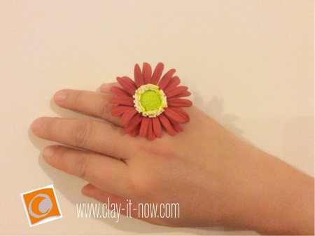 gerbera daisy clay ring -  how to make gerbera daisy clay -  mothers day gift idea