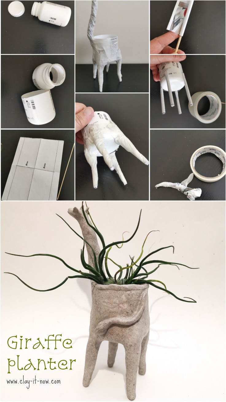 how to make giraffe planter with homemade paper clay