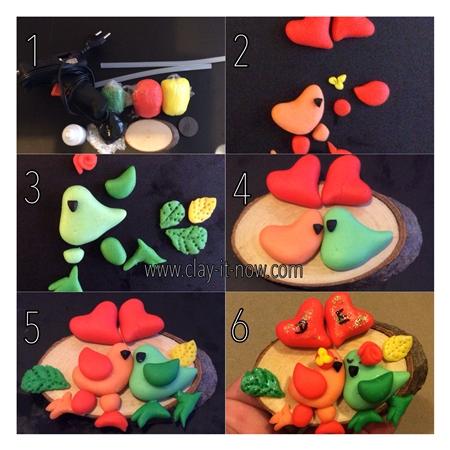 birdswithtwoheartsfridgemagnet-handmadevalentine'sgift-stepbystep tutorial