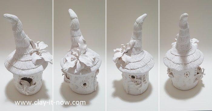 lily fairy house jar lantern - homemade air dry clay