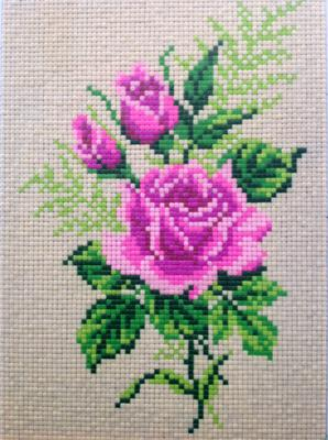 Clay Mosaic - Rose made from cross stitch pattern