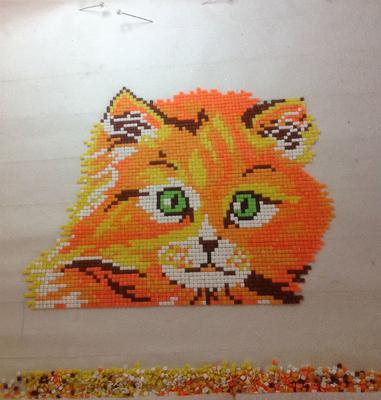 cat clay mosaic in progress