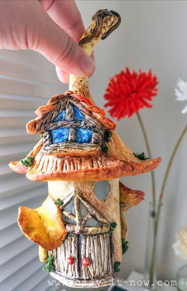 mushroom fairy house-chanterelle mushroom - clayitnow