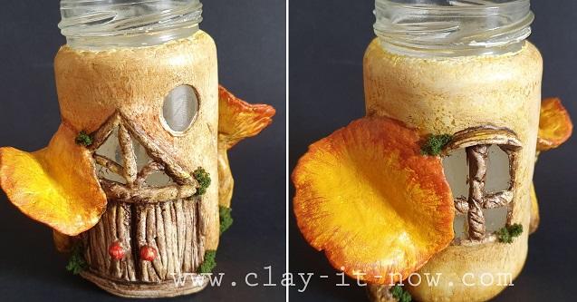 mushroom fairy house -chanterelle -clayitnow