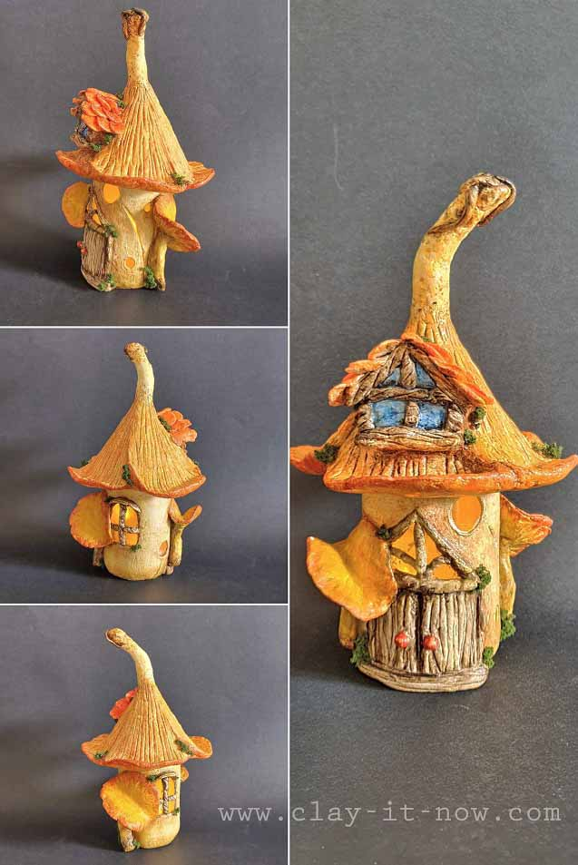 mushroom fairy house air dry clay tutorial - clayitnow