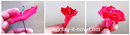 red carnation, carnation, clay flower