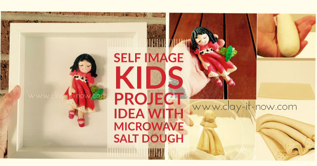 self image figurine, 2D self portrait  with salt dough, microwave salt dough
