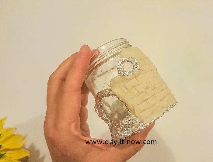 sunflower fairy house jar -  idea-clayitnow-diy