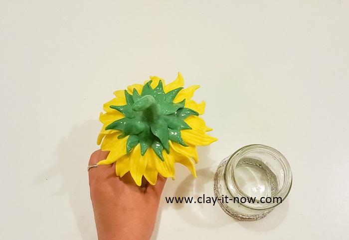 sunflower fairy house jar - roof idea-clayitnow-diy