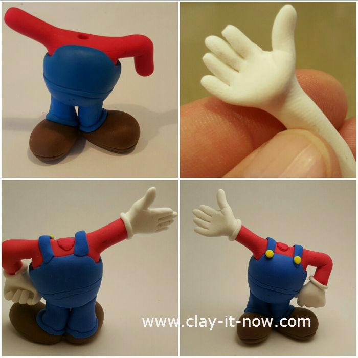 super mario clay, mario clay figurine - tutorial-3