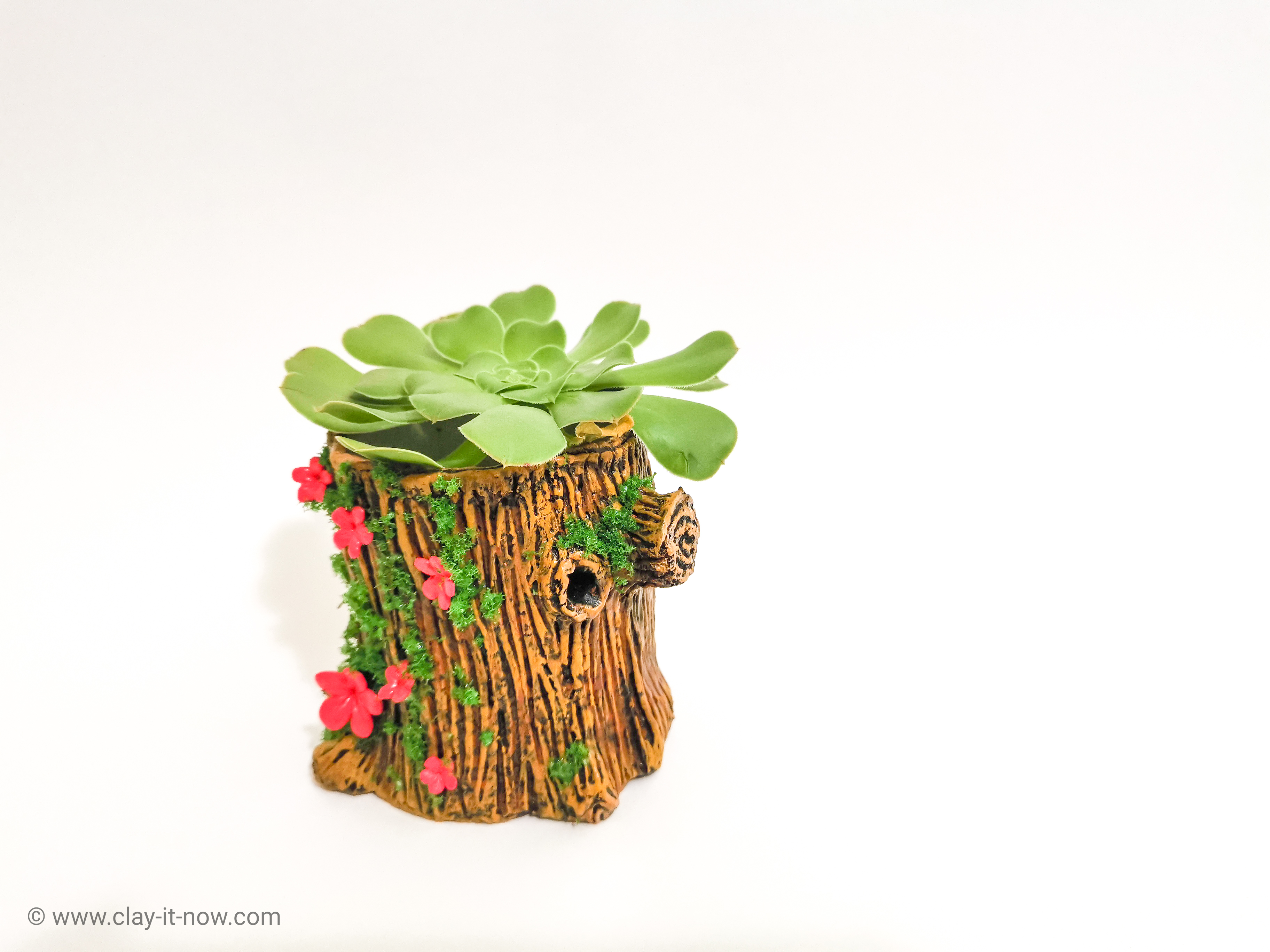 how to make tree trunk clay for planter? - tutorial by clayitnow