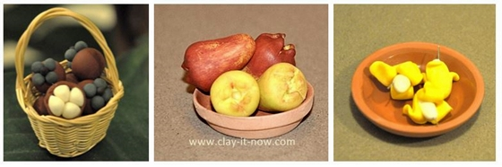 tropicalfruits, miniature fruits clay