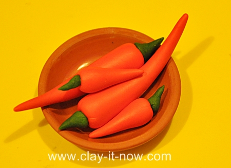 chilies clay miniatures, vegetable clay