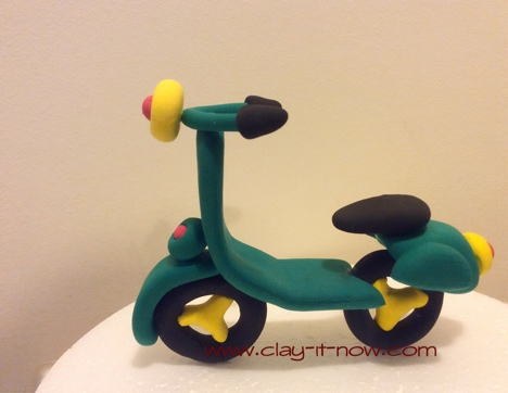 Vespa Scooter Clay Figurine