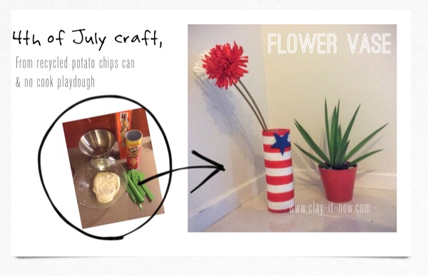 fourth of july craft for kids, upcycling potato chips can to flower vase - completed