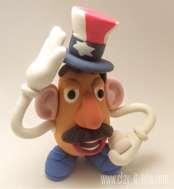 7708-patriotic potato head - mr.potato head clay figurine wearing 4th of July hat