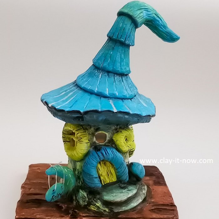 how to make blue fairy house with air dry clay - homemade clay