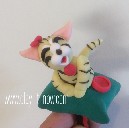 cat on the pillow pencil topper - clay cat figurine