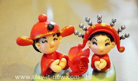 mini chinese bride, groom figurine, clay chinese bride and groom, chinese bride and groom