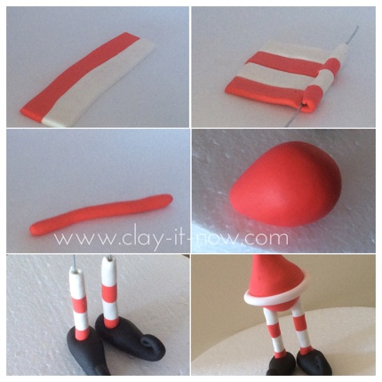 Santa shocks and fat tummy-step-by-step guide to make santa claus figurine for christmas in air dry clay