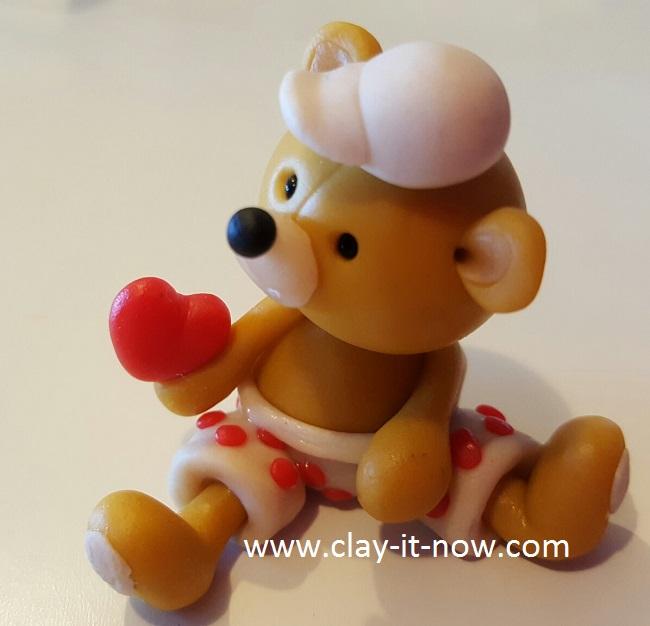 bear with love -cute bear figurine tutorial with homemade clay